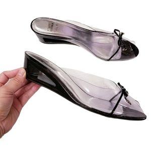 Stuart Weitzman Transparent Wedge Sandals